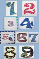 Ruby Numbers 1-9 Applique