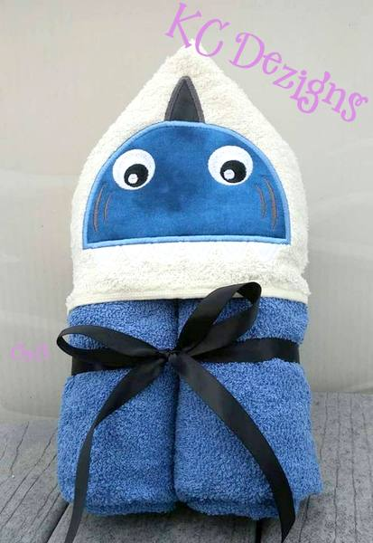 Shark Hooded Towel Machine Applique Embroidery Design Kc Dezigns