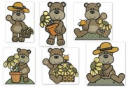 Sunflower Bears Embroidery