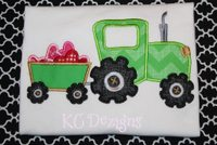 Tractor and Cart Hearts Applique