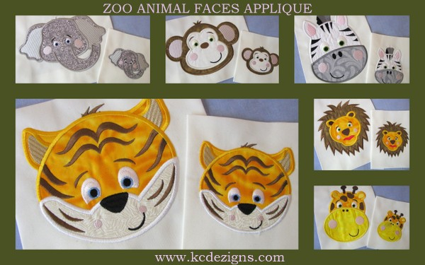 Zoo animal faces machine applique embroidery design full set kc